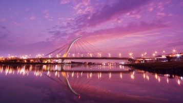 Modern Bridge at Sunset wallpapers and stock photos
