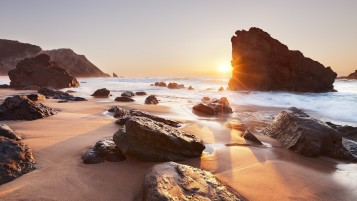 Ocean Rocks Sun Coast Portugal wallpapers and stock photos
