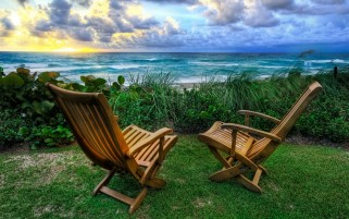 Ocean Chairs Grass Sky wallpapers and stock photos