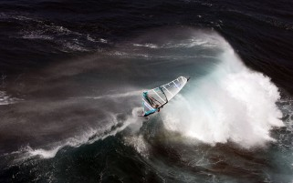 Windsurfing on Big Waves wallpapers and stock photos