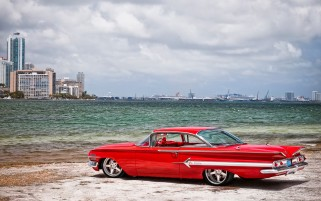 Red Chevrolet Impala Old-school wallpapers and stock photos