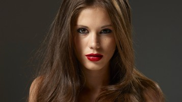 Hot Brunette with Red Lips wallpapers and stock photos