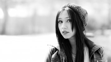 Cute Asian Girl Monochrome Close-up wallpapers and stock photos