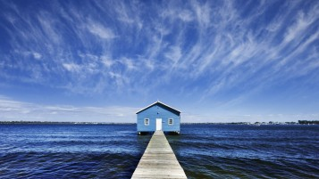 Blue Pier House wallpapers and stock photos