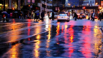 Wet City Streets wallpapers and stock photos