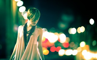 Girl and City Lights wallpapers and stock photos