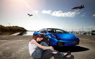 car and girl creative wallpape wallpapers and stock photos