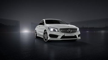 White CLA 45 AMG wallpapers and stock photos