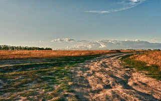 Dirty Road Fields Grass Sky wallpapers and stock photos