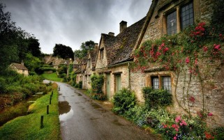 Village Houses & Road wallpapers and stock photos