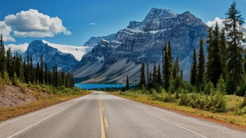 Mountains Trees Road Canada wallpapers and stock photos