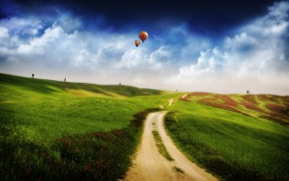 Air Ballons Path Hills & Sky wallpapers and stock photos
