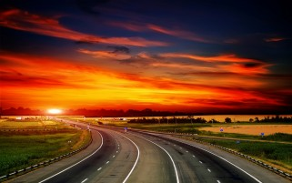 Highway & Fire Red Sky wallpapers and stock photos