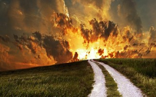 Burning Sky Hills Grass Path wallpapers and stock photos