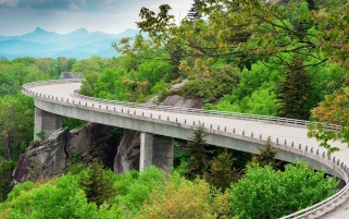 Forest Rocks Curvy Highway wallpapers and stock photos