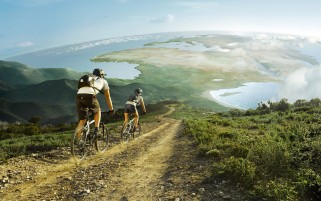 Hillside Scenery People Bike wallpapers and stock photos
