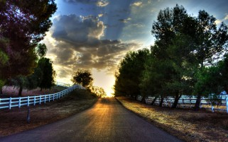 Clouds Trees Road Sun Fences wallpapers and stock photos