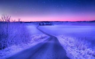 Magical Winter Road Norway wallpapers and stock photos