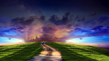 Magical Horizon Road Hill Gras wallpapers and stock photos