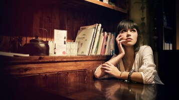 Cute Brunette with Bangs wallpapers and stock photos