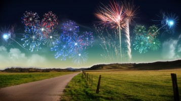 Fireworks Fields Road Fences wallpapers and stock photos