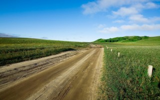 Fields Dirty Road Hills Sky wallpapers and stock photos