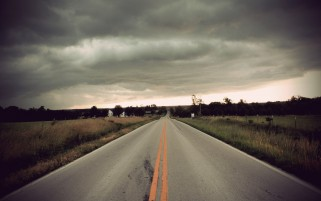 Stormy Clouds Road Fields wallpapers and stock photos