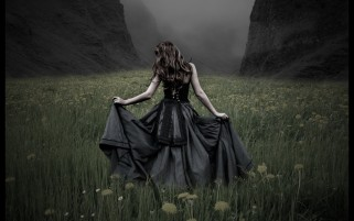 Woman Dark Dress Dandelion wallpapers and stock photos