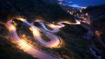 Coastal Road at Night wallpapers and stock photos