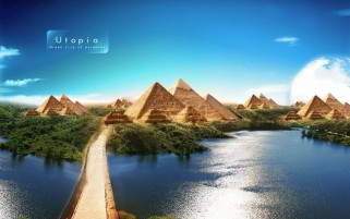 Utopia Green City Of Pyramids wallpapers and stock photos