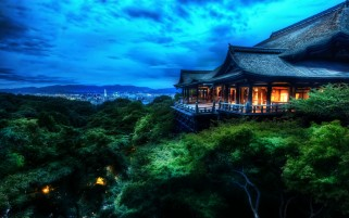 The Treetop Temple Protects Kyoto Japan wallpapers and stock photos