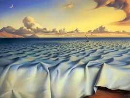 Surreal Ocean Boat & Clouds wallpapers and stock photos