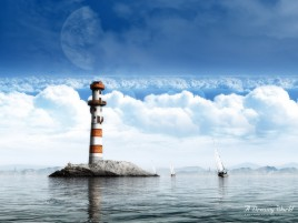 Light House Ocean Boats Clouds wallpapers and stock photos