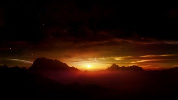 Mountains Sunset Foggy Stars wallpapers and stock photos