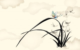Random: Butterfly Black Grass & Flower