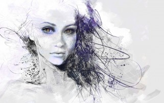 Girl Face Drawing Abstract wallpapers and stock photos