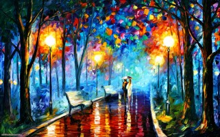 Couple In The Park Painting wallpapers and stock photos