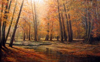 Autumn Forest & Creek Painting wallpapers and stock photos