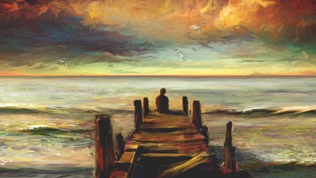 Random: Jetty People Ocean Painting