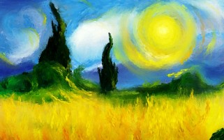 Sun Field Trees Grass Painting wallpapers and stock photos