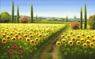 Random: Sun Flower Field Painting