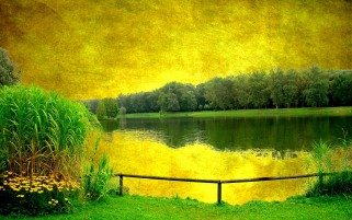 Random: Yellow Sky Green Scenery Lake
