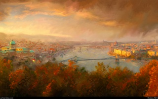Autumn City River Budapest wallpapers and stock photos