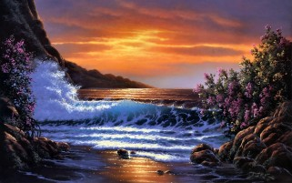 Sunset Ocean Wave Rocks Flower wallpapers and stock photos