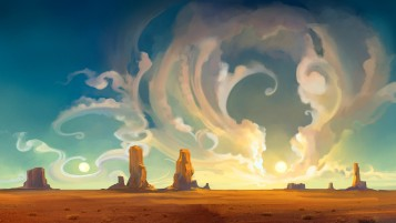 Desert & Clouds Painting wallpapers and stock photos
