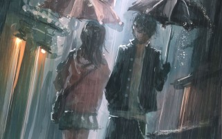 Girl & Boy Rain Umbrella wallpapers and stock photos