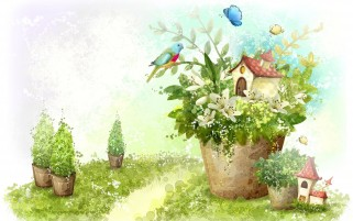 Flower Pots Bird House wallpapers and stock photos