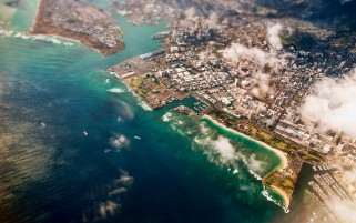 Aerial View of Honolulu Hawaii wallpapers and stock photos
