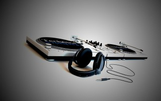 Random: Head Phones & Mixer Console