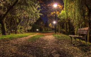 Park Road Lamps Scenic Bench wallpapers and stock photos